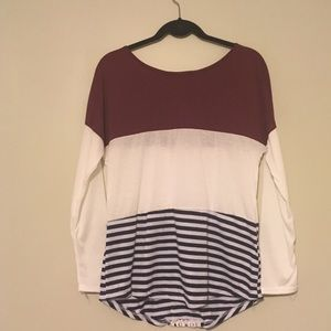 Tops - Striped Color Block Long Sleeve